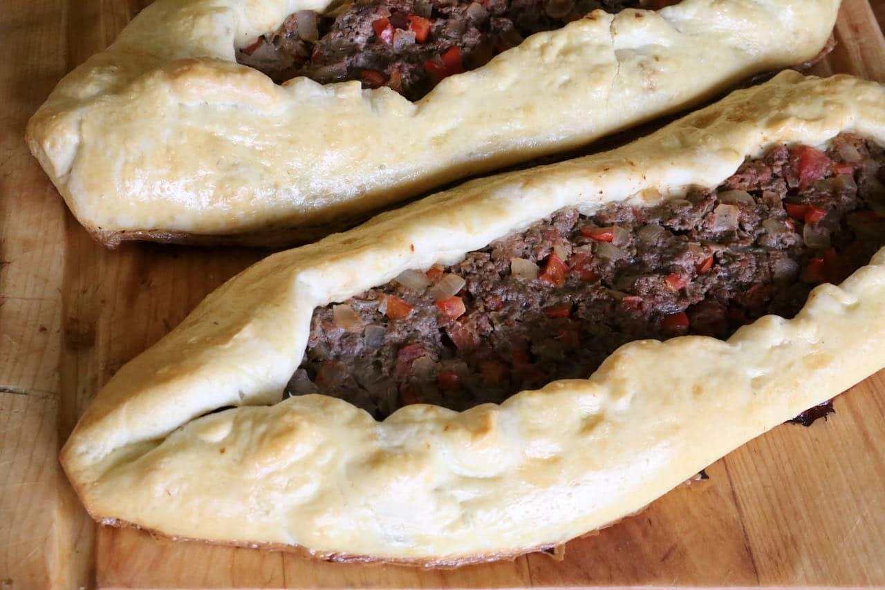 This recipe makes two large Kiymali Pide Turkish pizzas.
