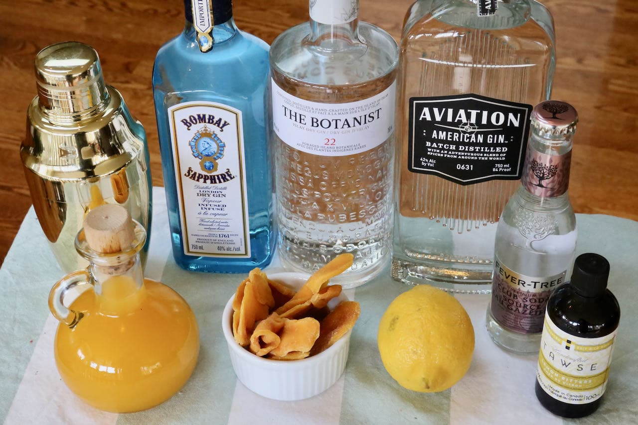 Easy homemade Mango Collins Cocktail ingredients.