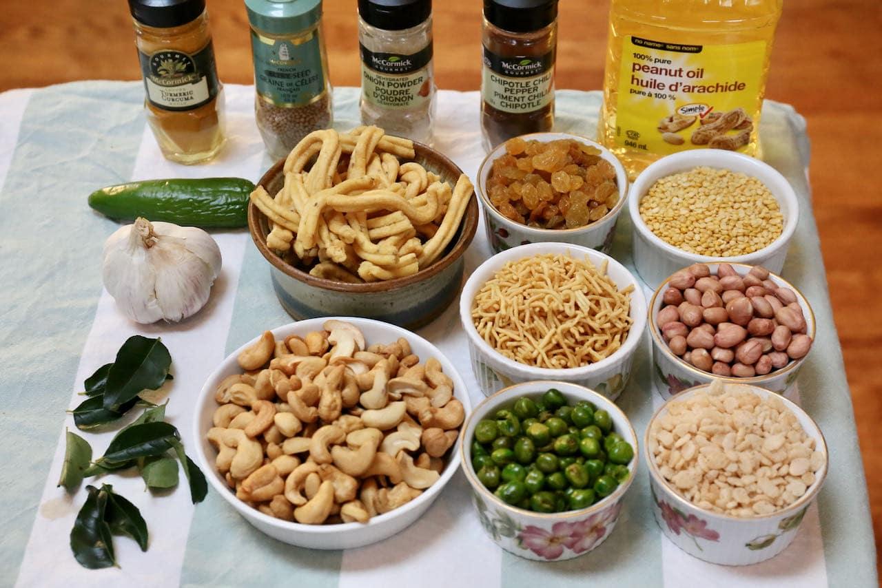 Traditional Chiwda Chanachur Namkeen Bombay Mixture recipe ingredients.