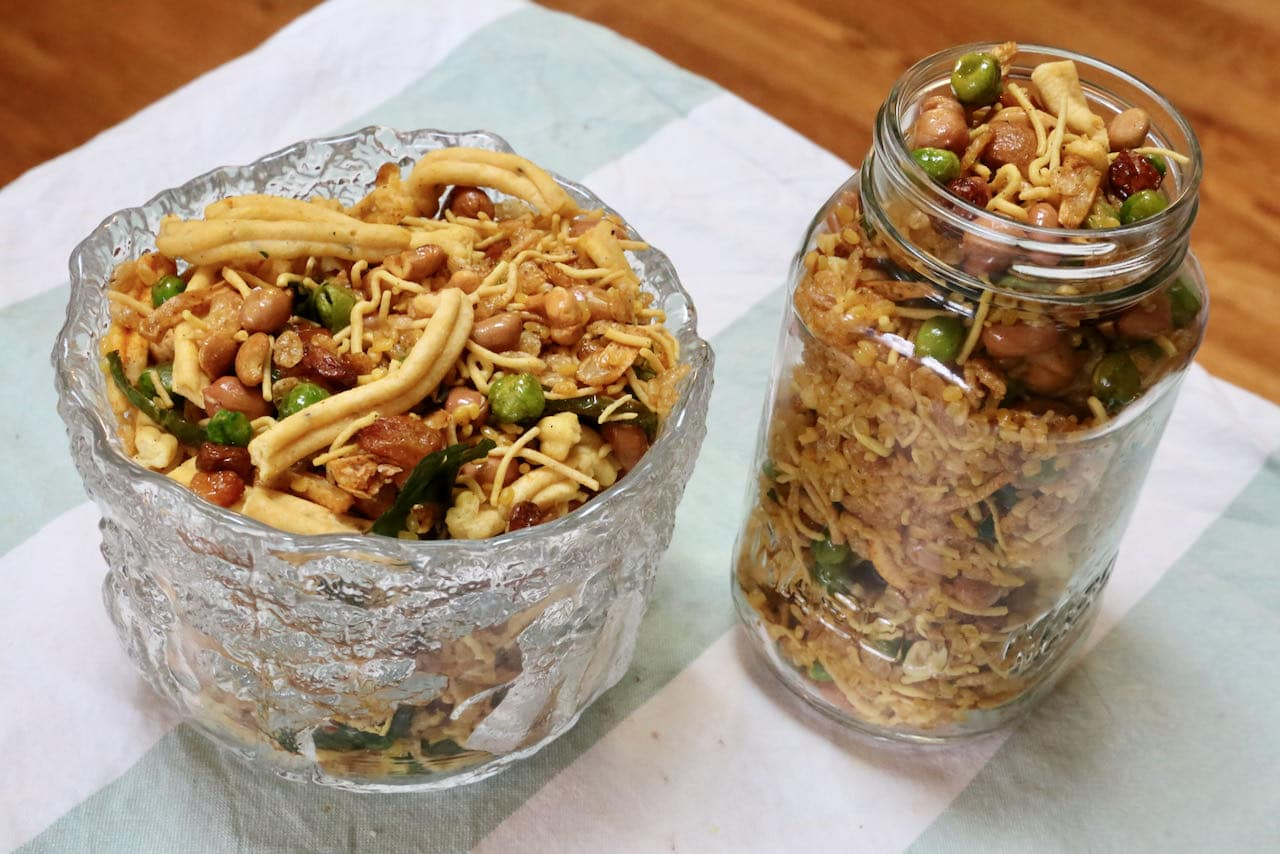 Serve homemade Chivda Chanachur Bombay Mixture in a serving bowl or store in a mason jar.