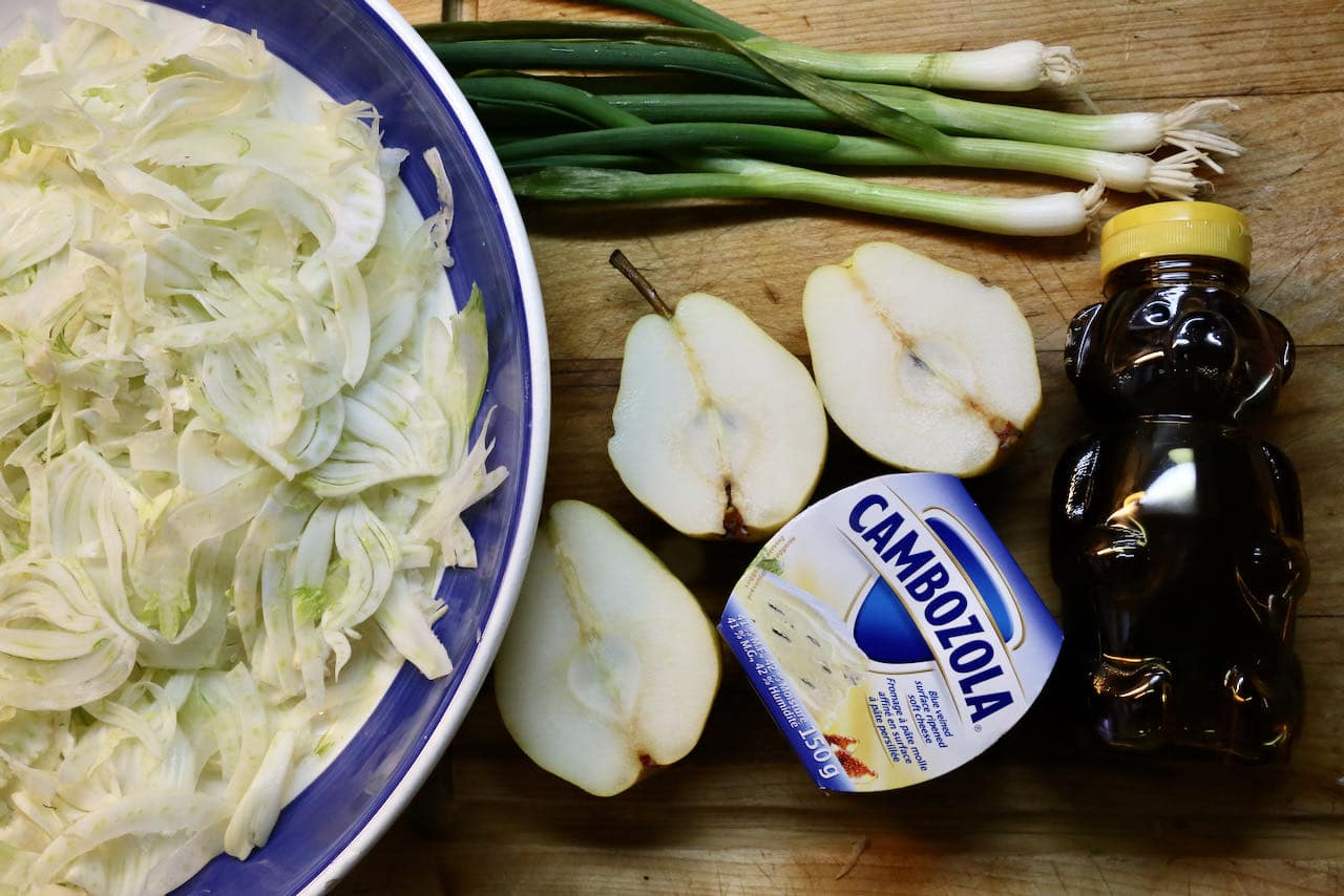 This crunchy Pear and Fennel Salad features creamy Cambozola cheese.