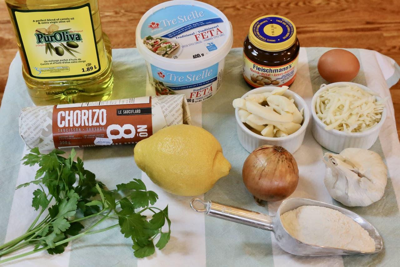 Peynirli Pide ingredients.