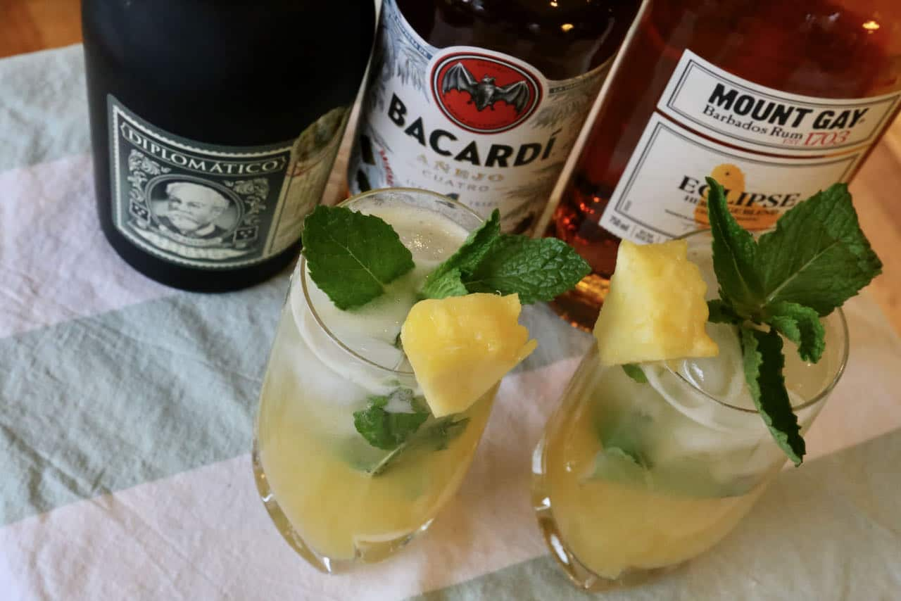Serve a Pineapple Mojito with whole ice cubes or crushed ice in a highball or rocks glass.