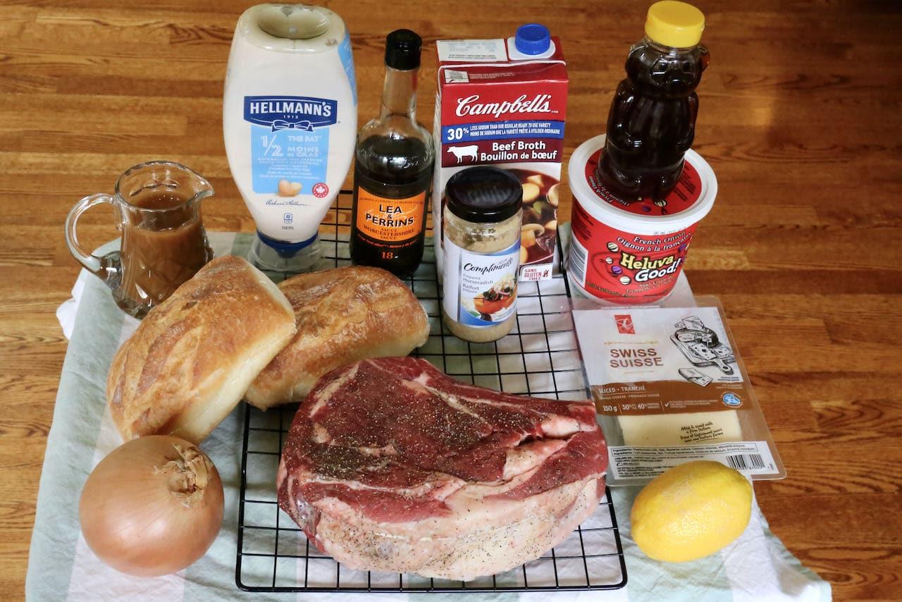 Prime Rib French Dip Sandwich ingredients.