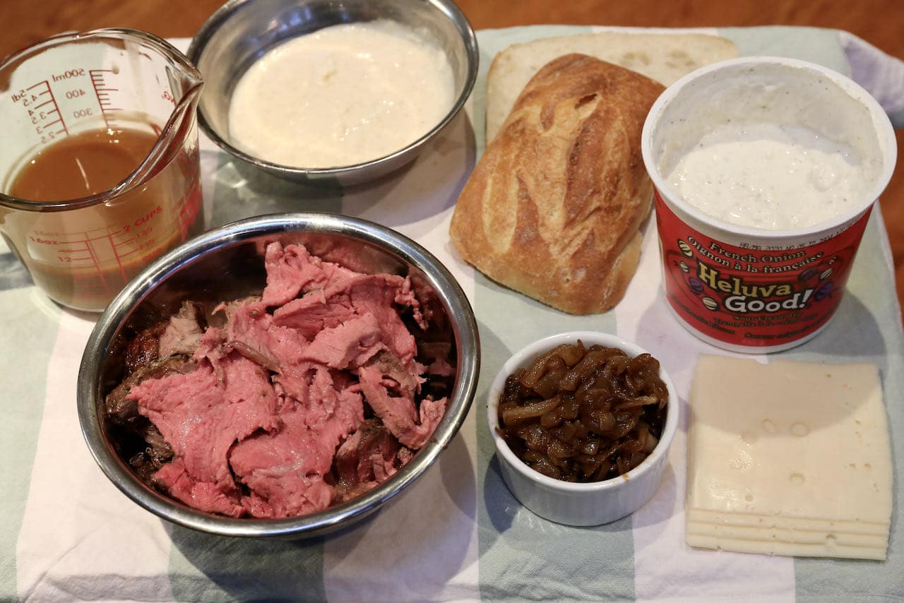 Prime Rib French Dip Sandwich assembly.