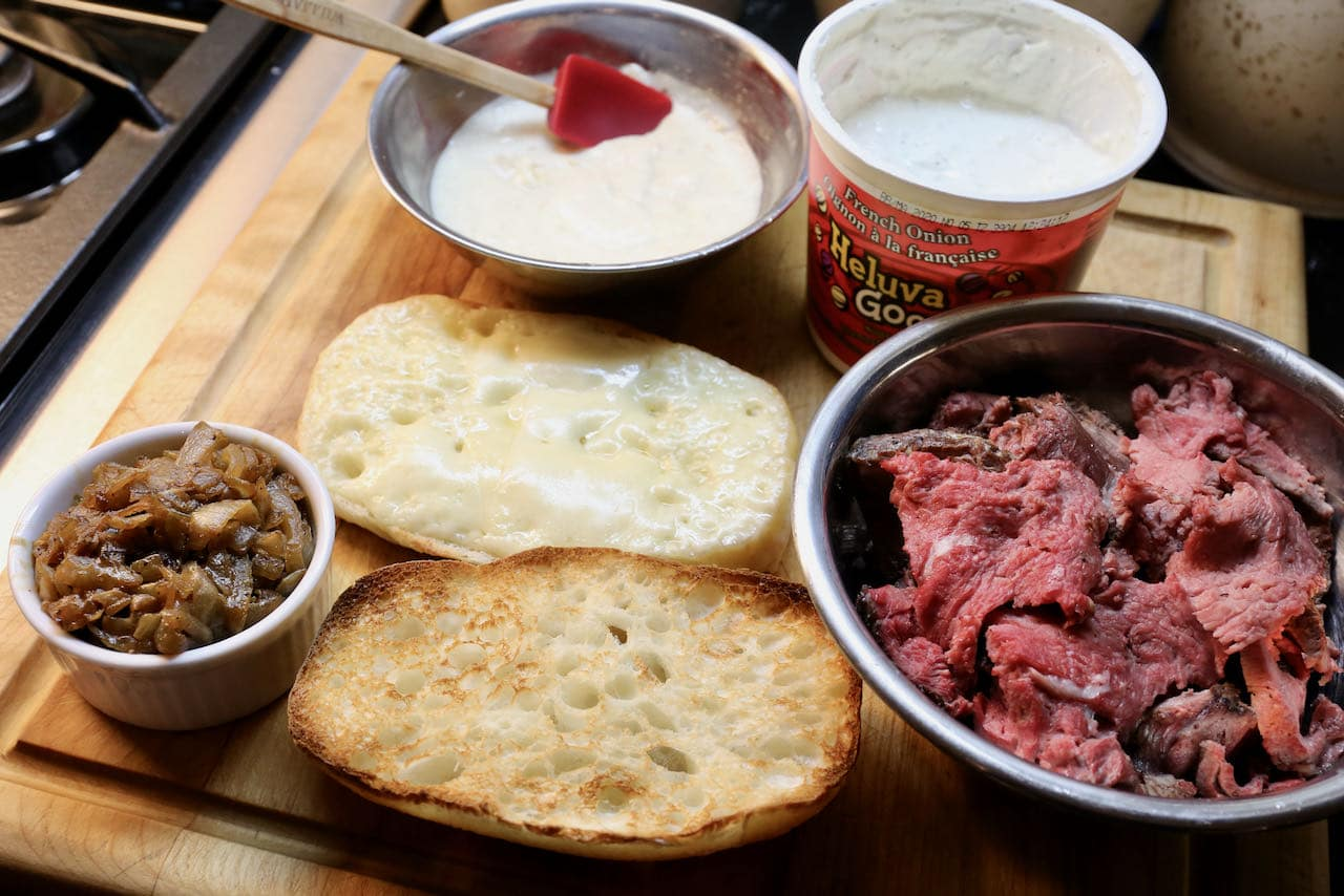 Prime Rib Dip: Toast the roll with a slice of Swiss cheese so it melts.