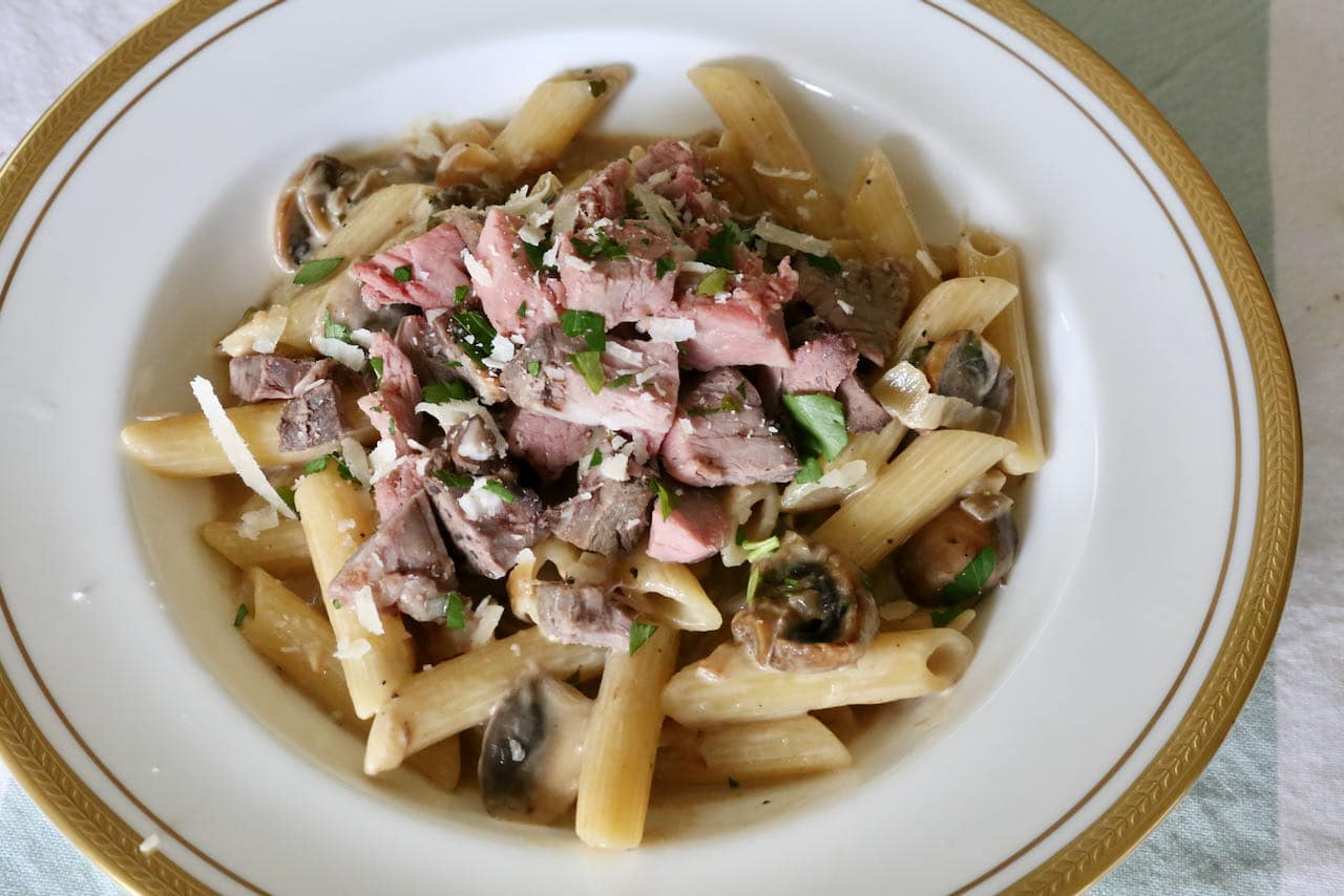 We love serving Prime Rib Pasta for dinner the day after we cook roast beef. It's a tasty way to reimagine leftovers!