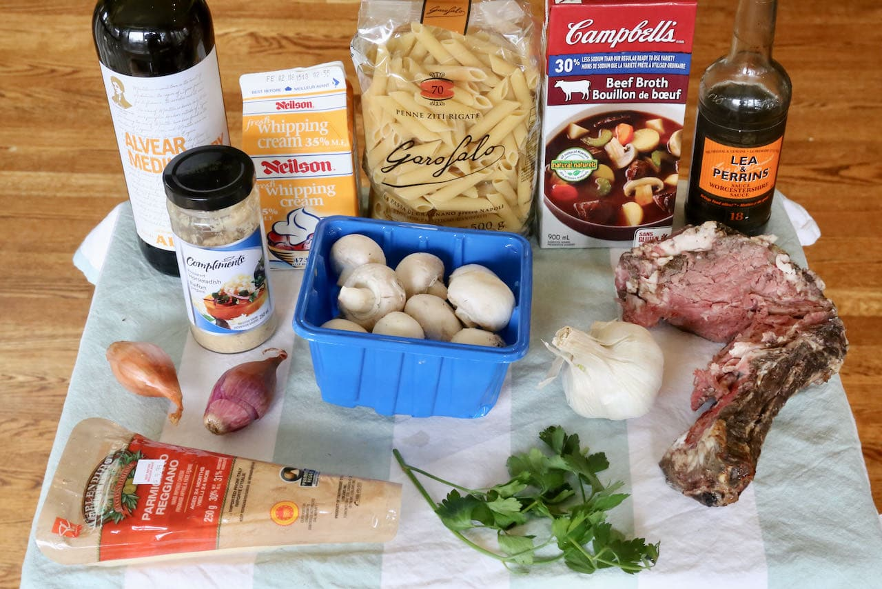 Prime Rib Pasta recipe ingredients.