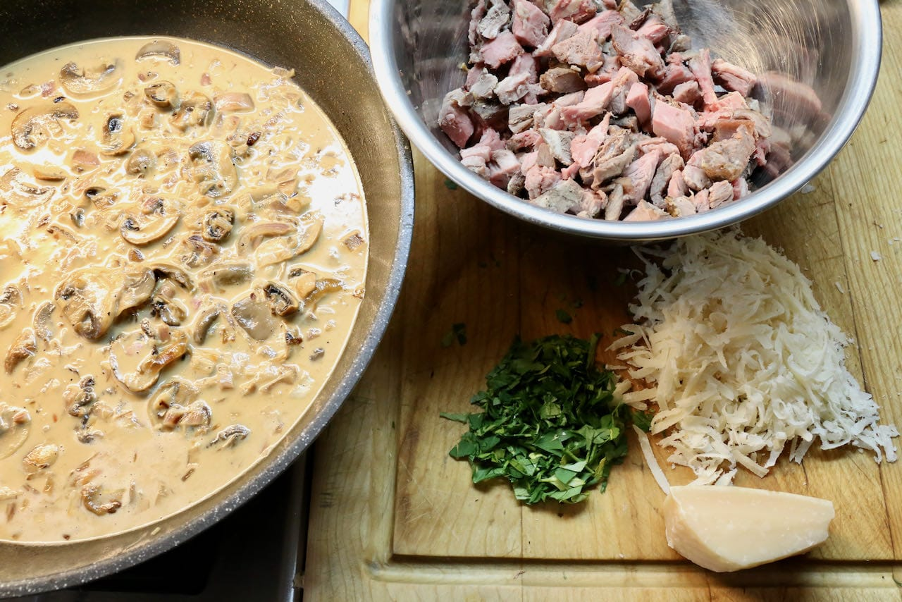 Our Prime Rib Pasta recipe features mushroom cream, leftover roast beef, parsley and parmesan.