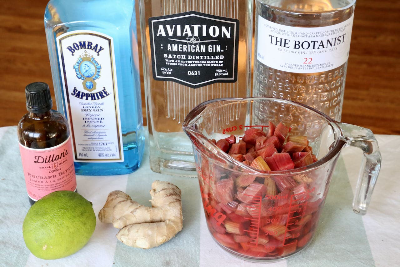 Ingredients you'll need to make our Ginger Rhubarb Gin Recipe.