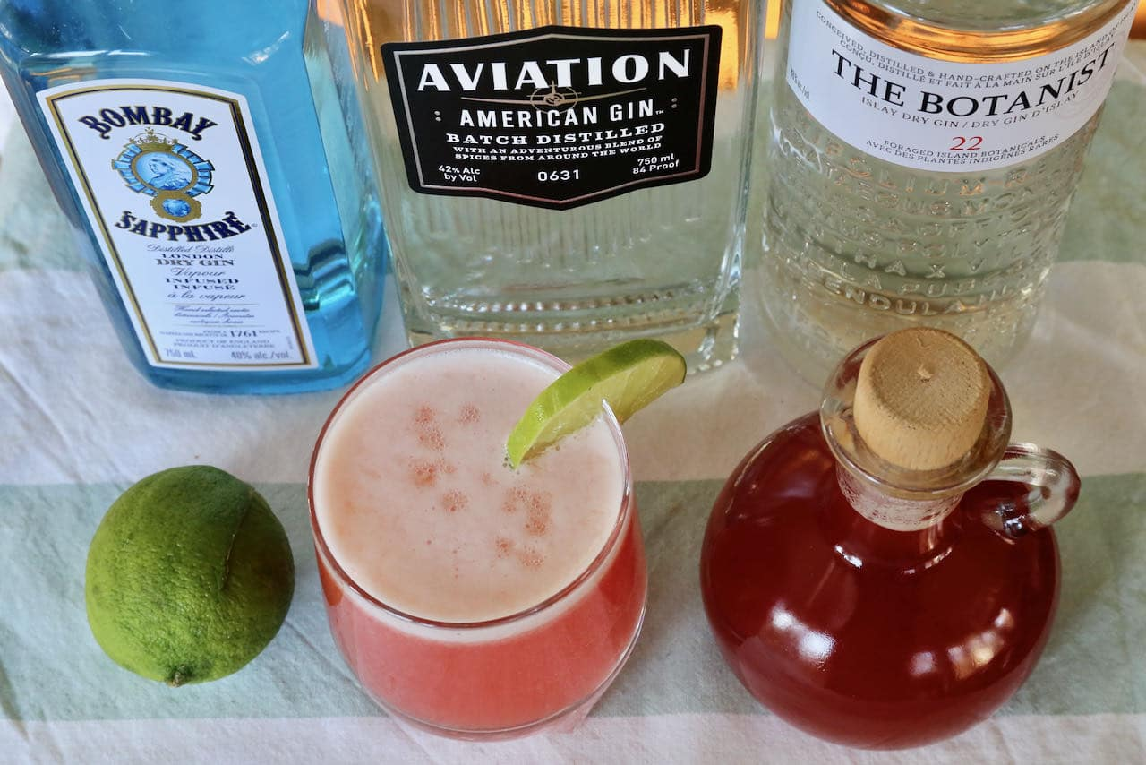 Our Rhubarb Cocktail is garnished with fresh lime slice or rhubarb stalk.