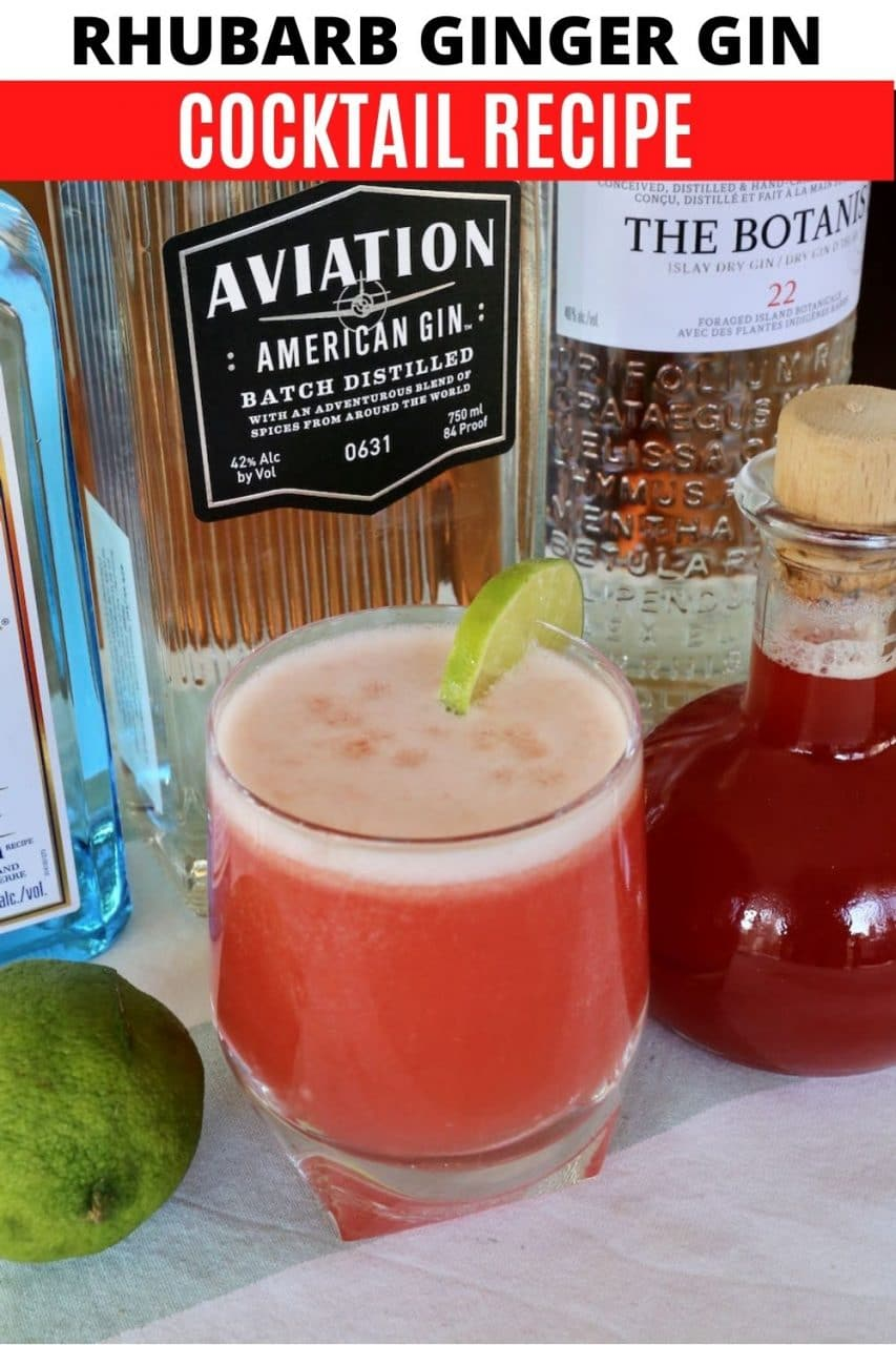 Save our Rhubarb and Ginger Gin cocktail recipe to Pinterest!