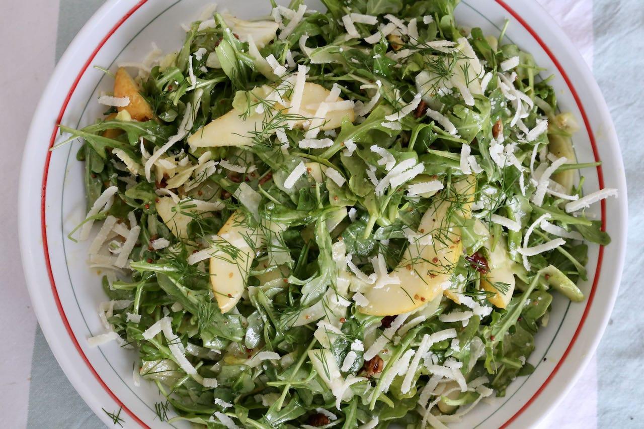 Toasted Pecan Parmesan Pear and Rocket Salad Recipe