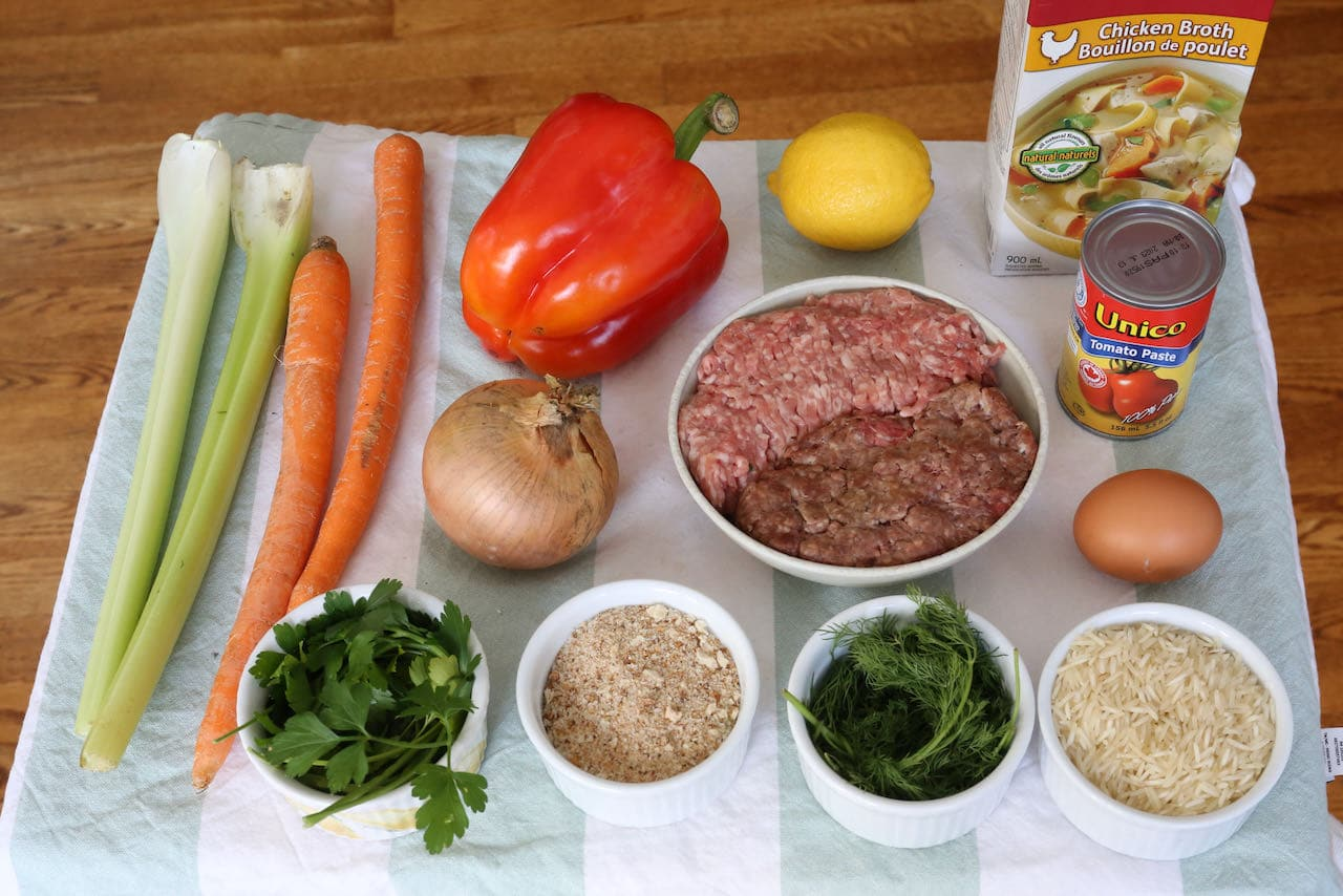 Ingredients you'll need to make our homemade Ciorba de Perisoare Romanian Soup recipe.