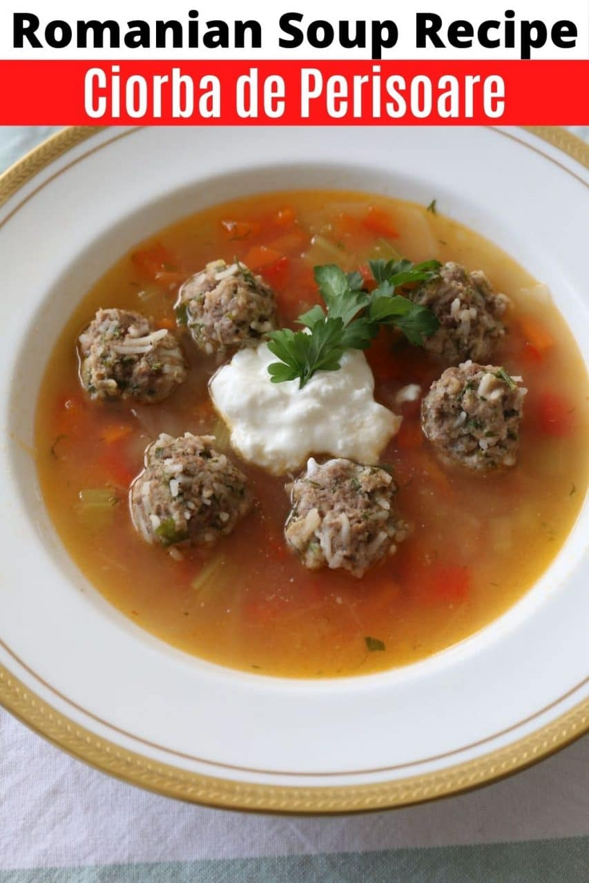 Save our Ciorba de Perisoare Romanian Soup recipe to Pinterest!