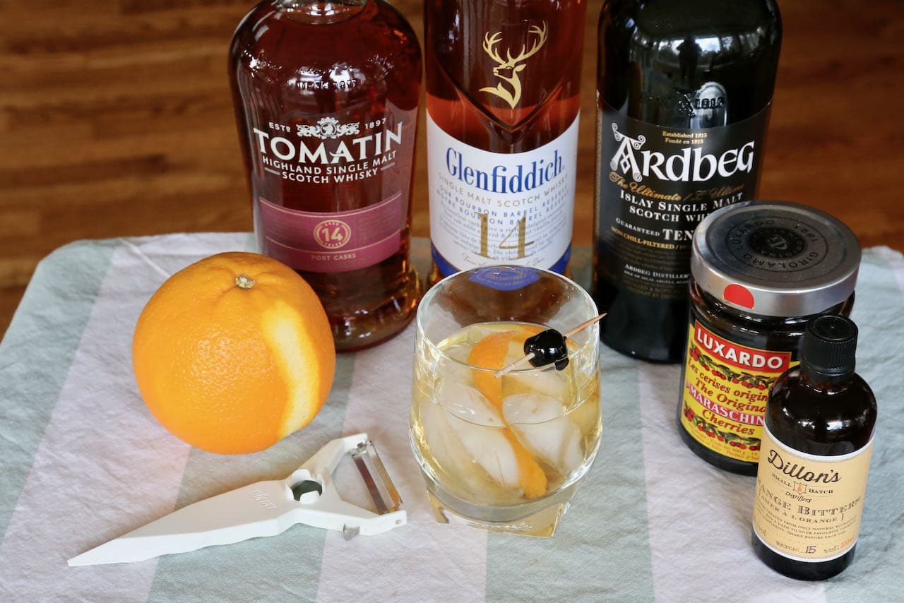 Use a vegetable peeler on a fresh orange when serving a freshly made Scotch Old Fashioned.