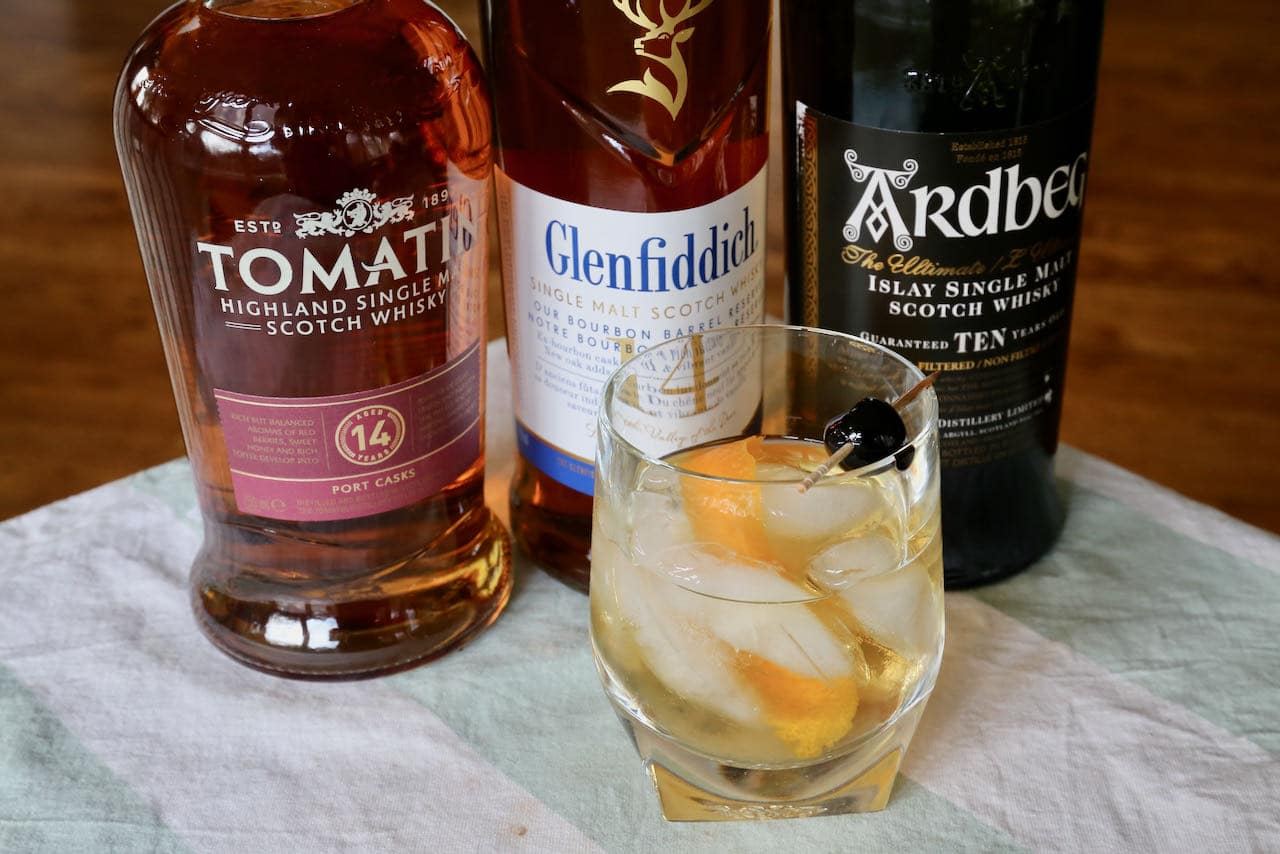 Serve a Scotch Old Fashioned over ice or strain before pouring into a rocks glass.