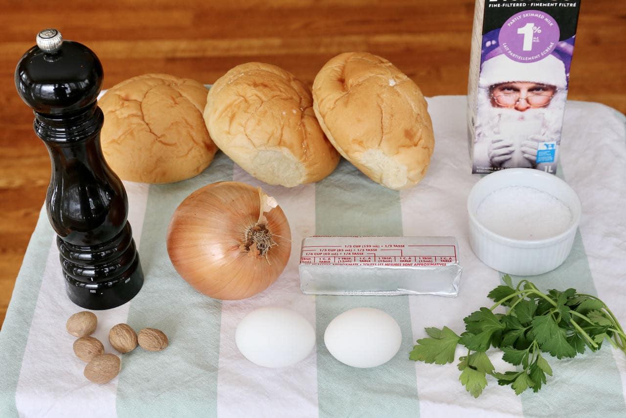 Semmelknödel German Bread Dumpling ingredients.
