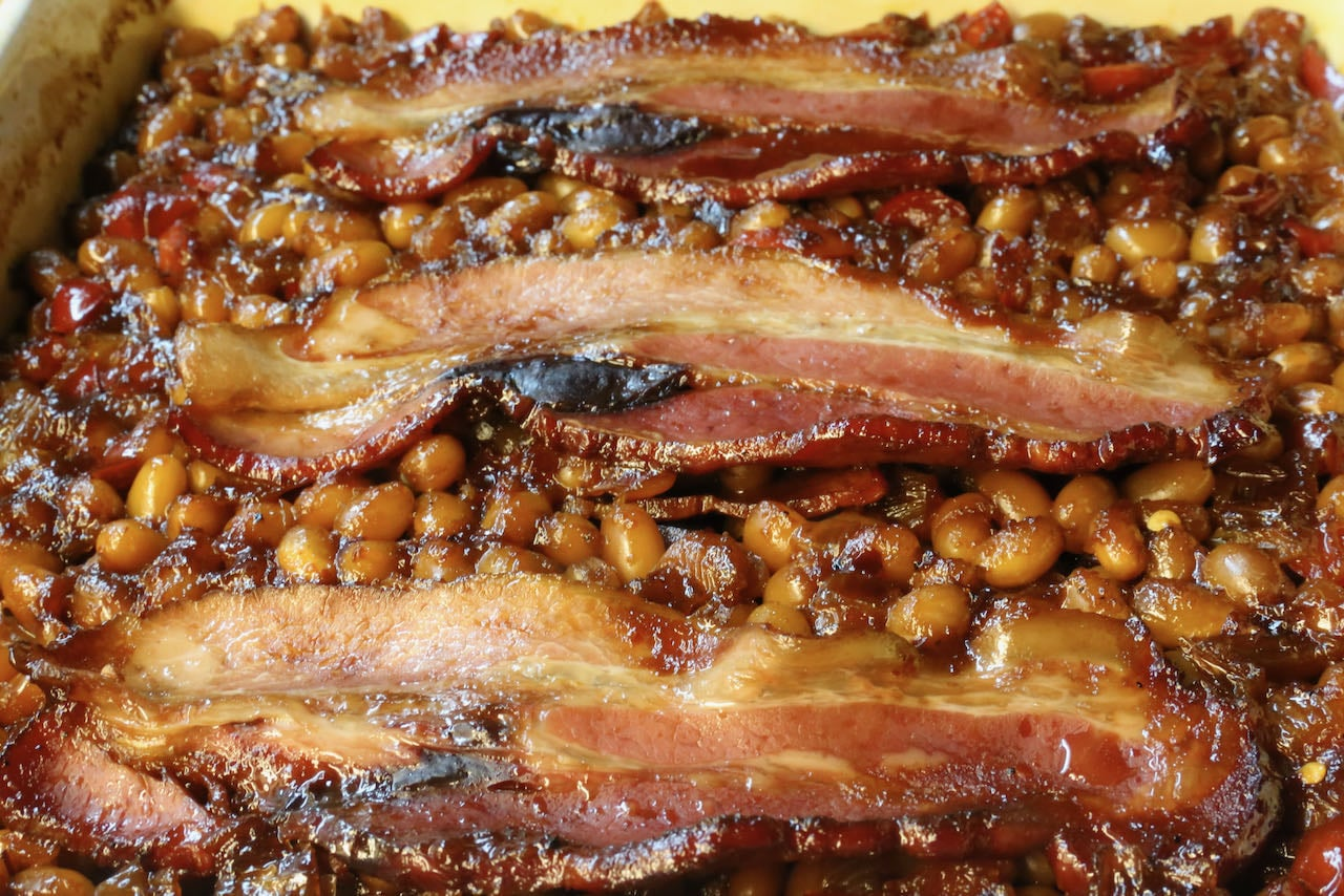 We love serving these easy Smoked Baked Beans for Christmas brunch.