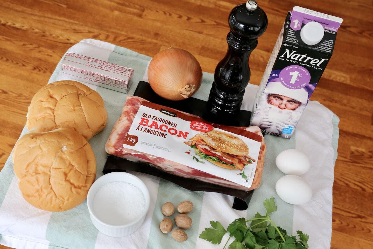 Speckknödel German Bacon Bread Dumpling ingredients.