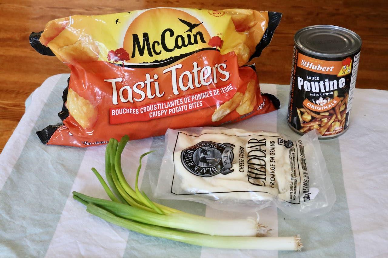 Tater Tot Poutine ingredients.