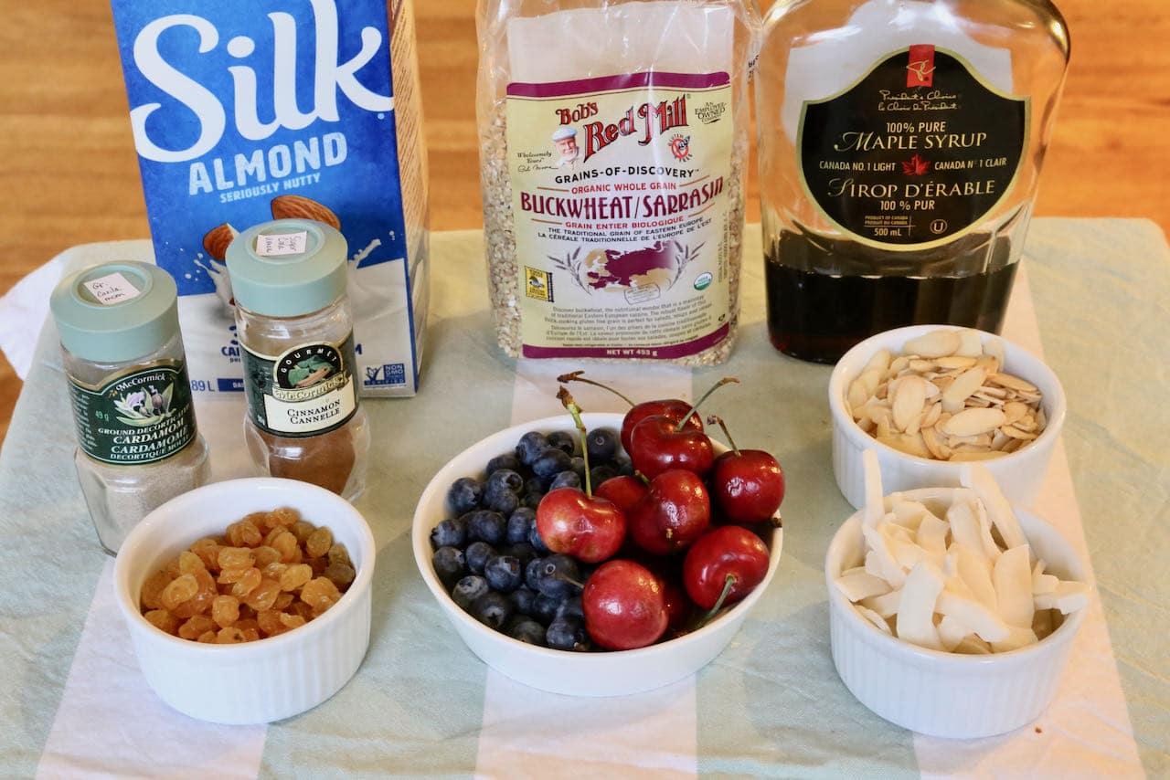 Gluten Free Porridge recipe ingredients.