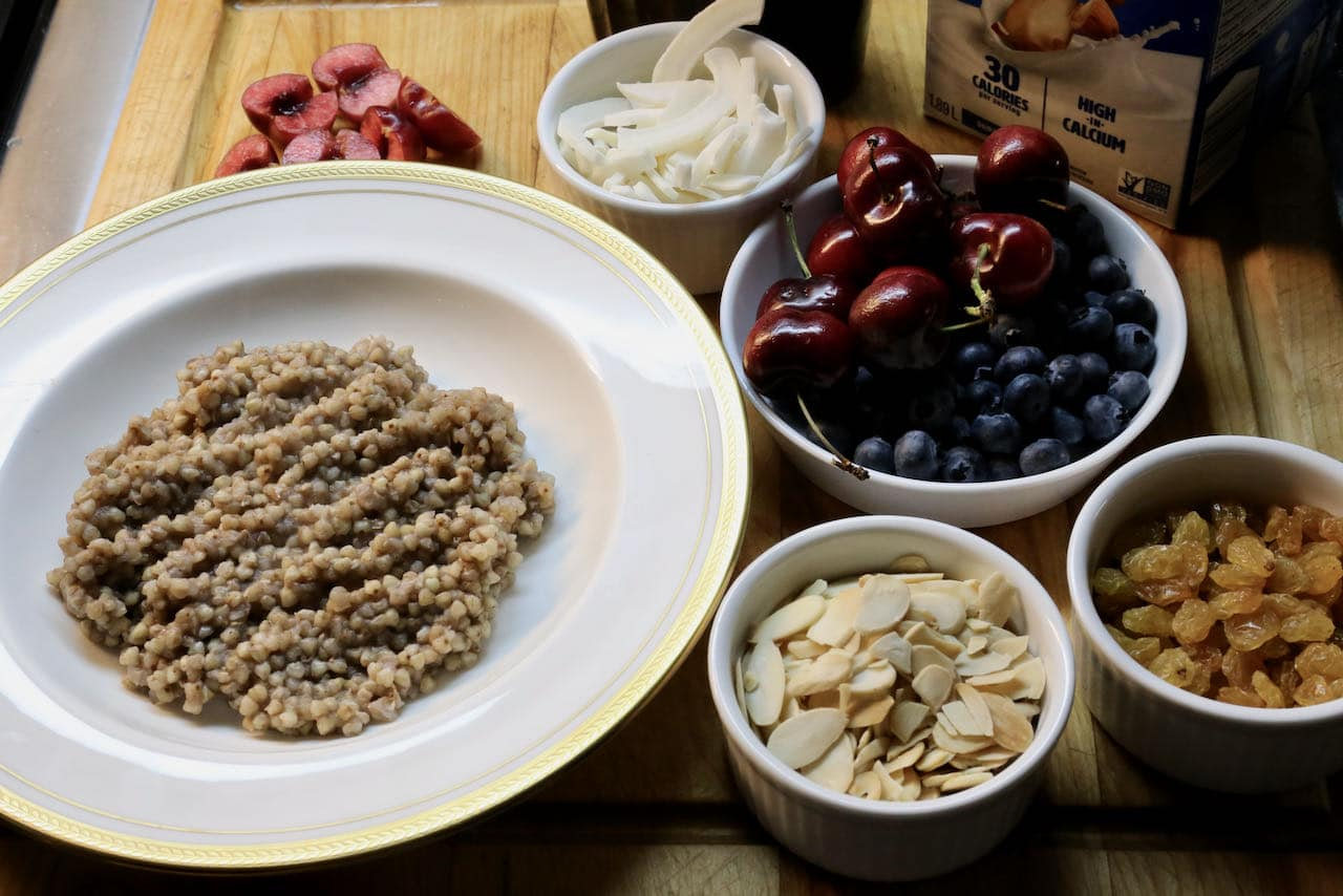 Host a DIY gluten free porridge brunch buffet with your favourite healthy toppings.