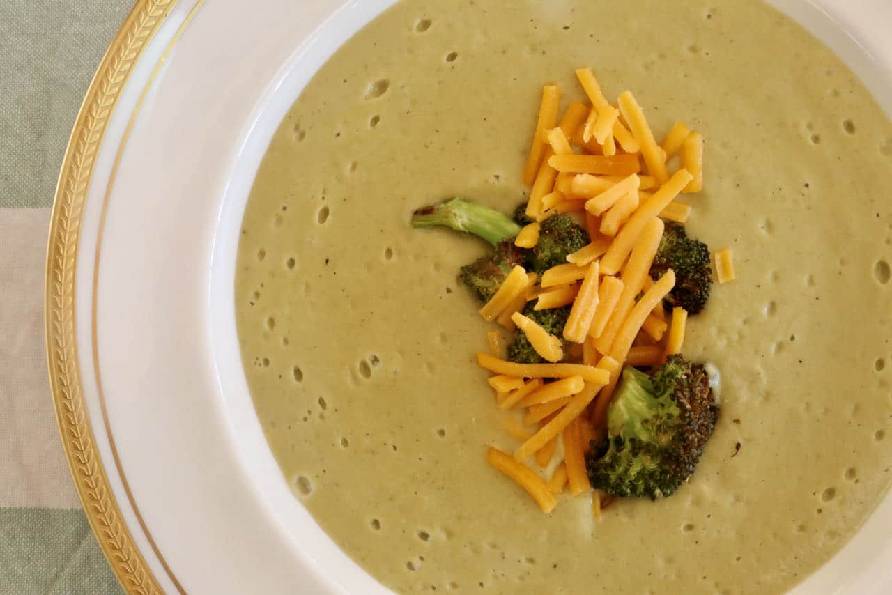 Cheesy Vegetarian Cheddar Broccoli Almond Soup Recipe
