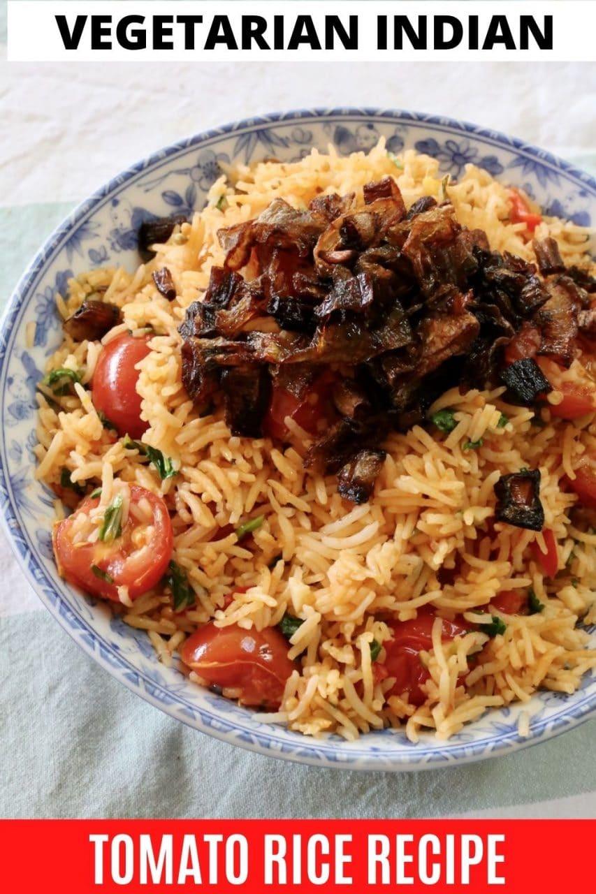 Save our Indian Thakkali Tomato Biryani recipe to Pinterest!
