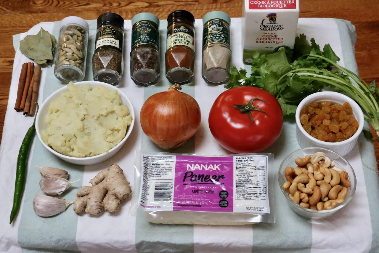 Malai Kofta ingredients.