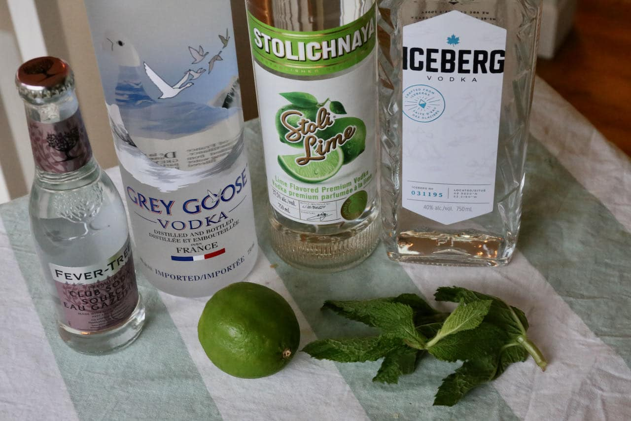 Vodka Mojito ingredients include lime, mint and soda.