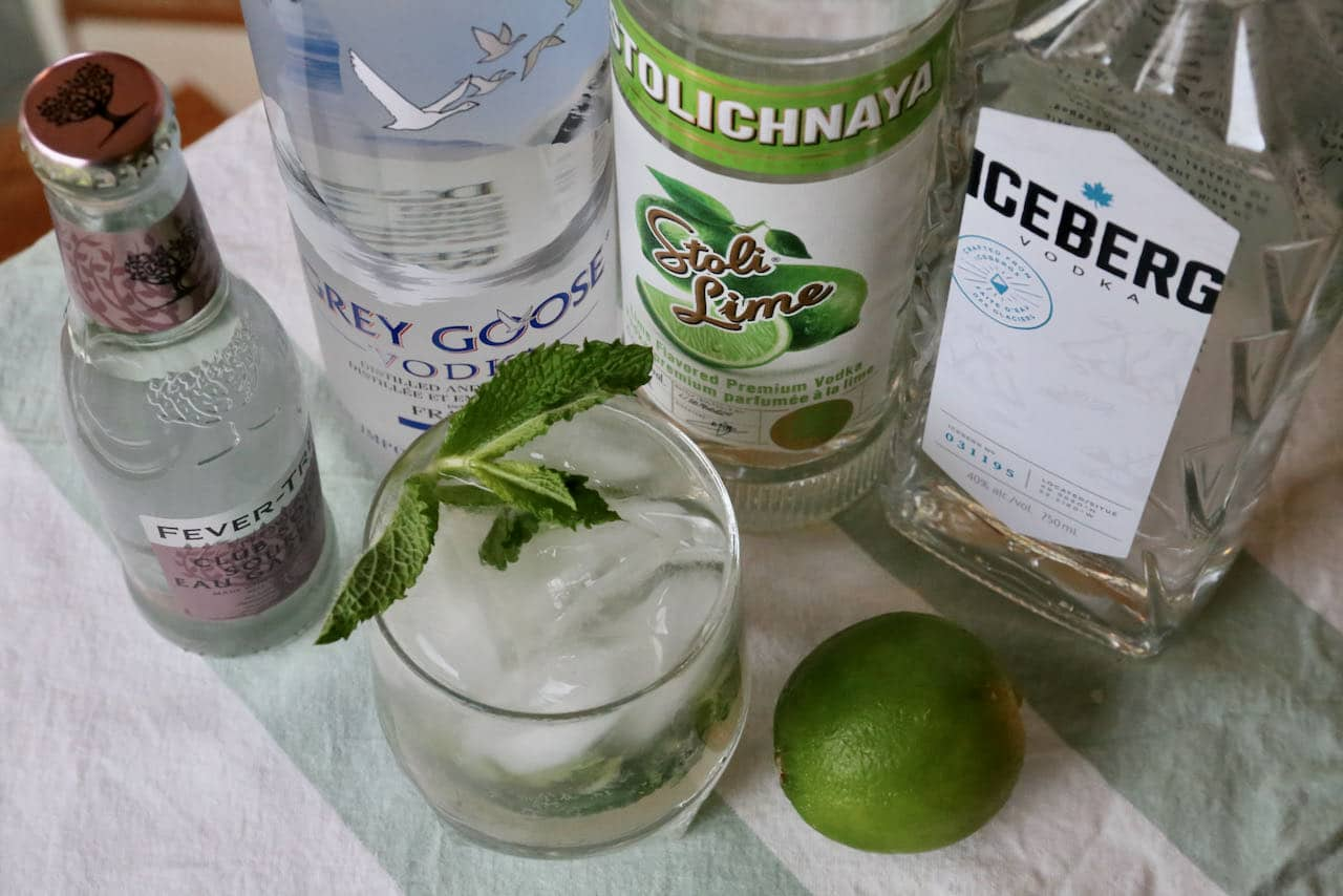 Our easy Vodka Mojito recipe is garnished with fresh mint and lime wedge.