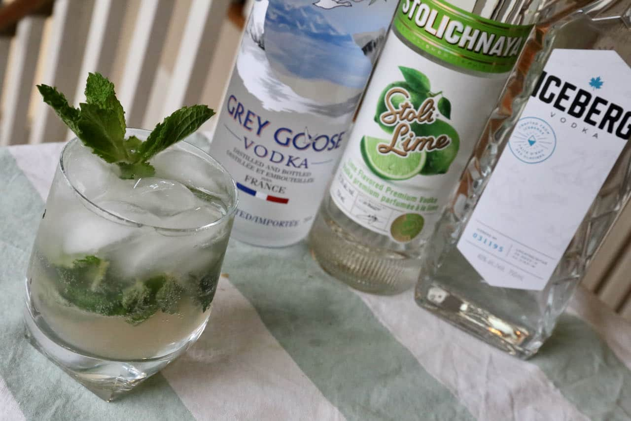 Serve a Vodka Mojito with whole ice cubes or crushed ice in a highball or rocks glass.