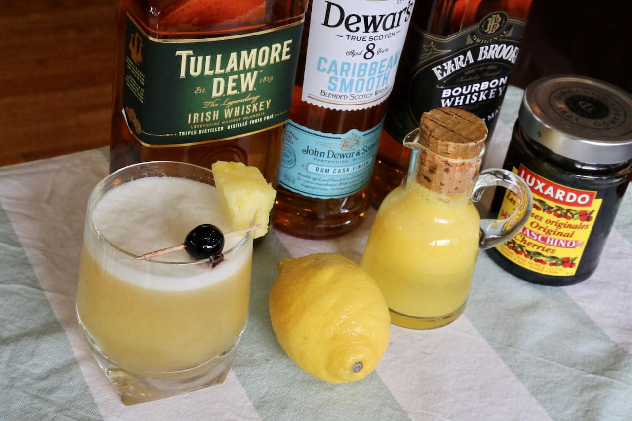 We flavour our Pineapple Sour with lemon juice, whiskey, simple syrup and pineapple juice.