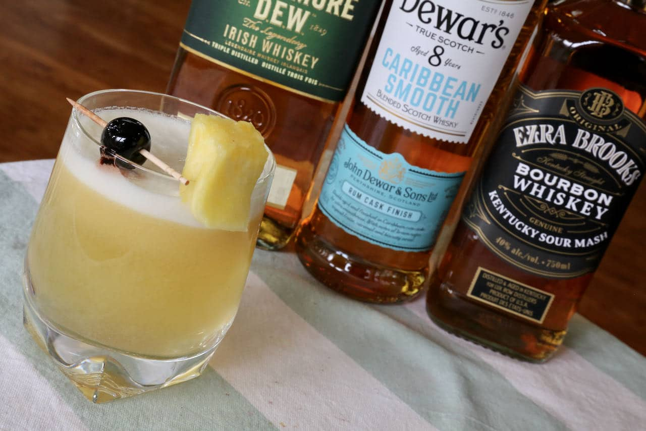 Mix this Pineapple Sour Cocktail with Scotch, Bourbon or Canadian Whiskey.