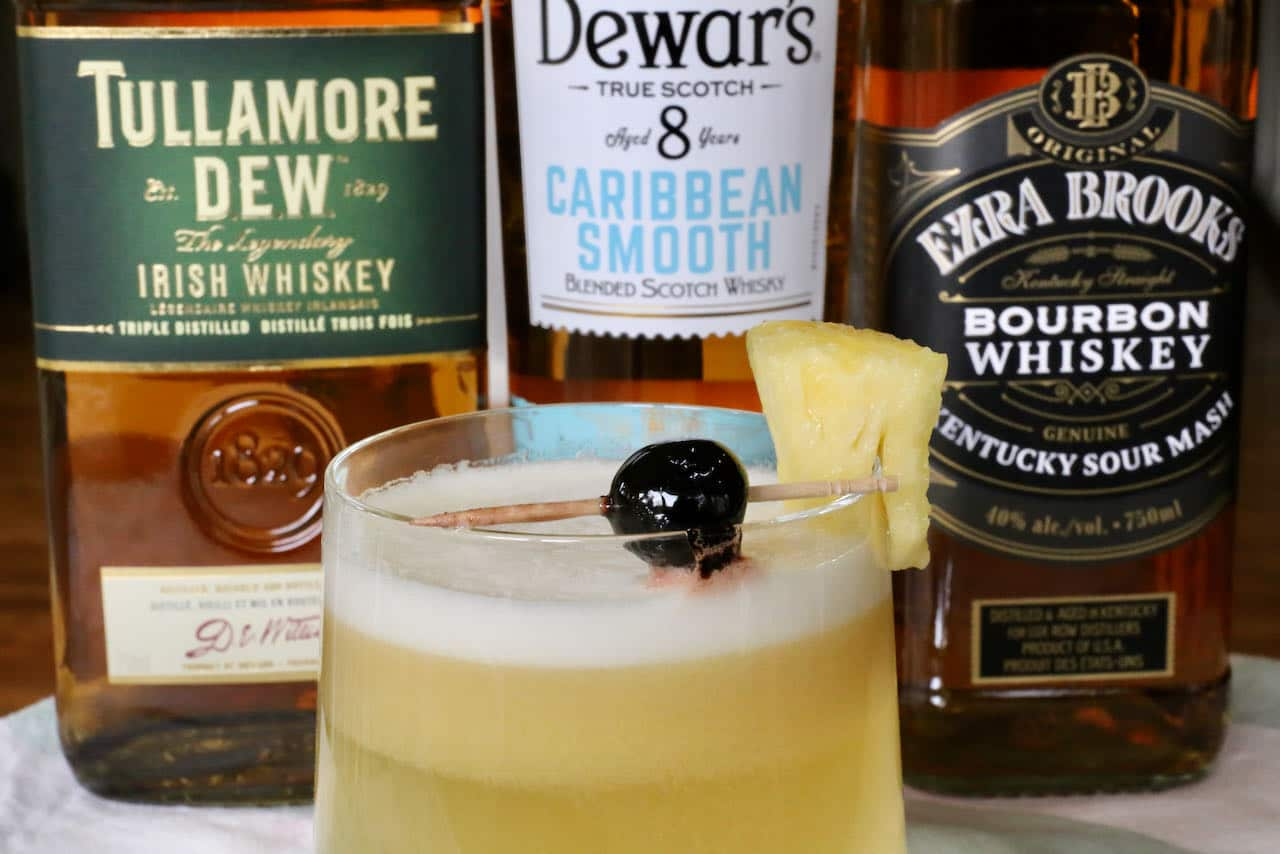 Hawaiian Whiskey Pineapple Sour Cocktail Drink Recipe