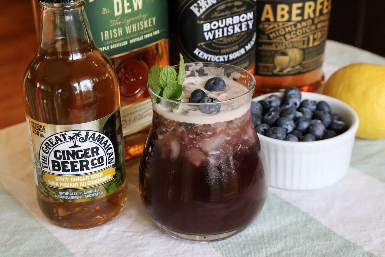 Fresh Blueberry Buck Whiskey Cocktail Drink Recipe