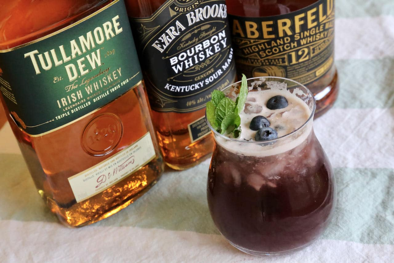 Mix this simple Blueberry Buck recipe with Bourbon, Irish Whiskey or Scotch.