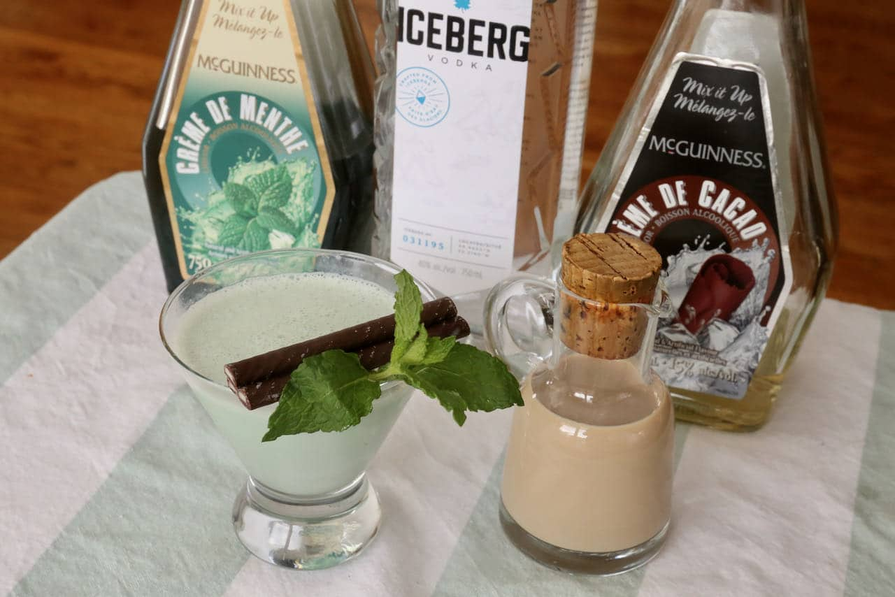 Wow guests at your next holiday cocktail party by topping After Eight Cocktail fresh mint and mint chocolate sticks.