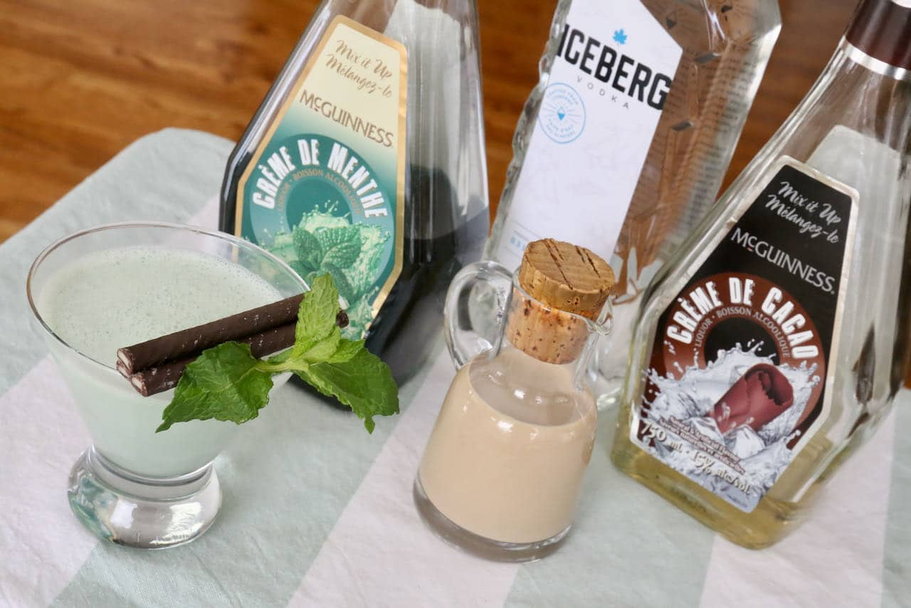 After Eight Cocktail is prepared with Baileys, vodka, creme de menthe, creme de cocoa, cream and fresh mint.