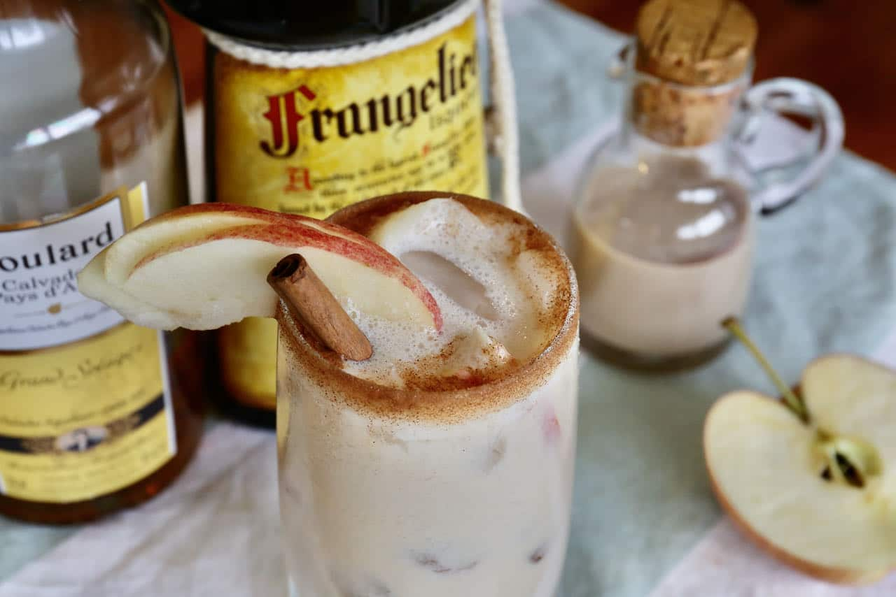 We love serving this boozy Baileys Apple Pie cocktail during Thanksgiving and Christmas.