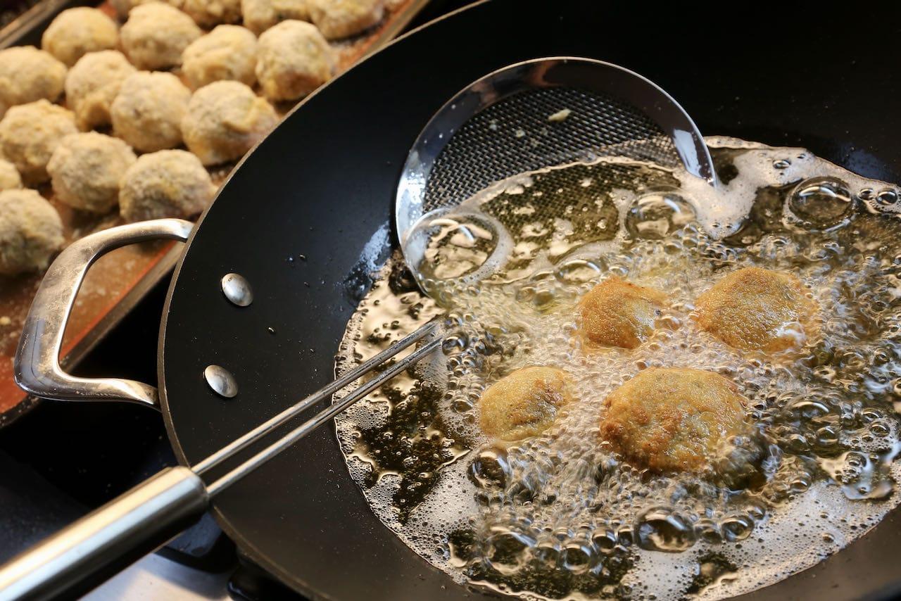 Deep fry our bitterballen recipe in a wok.