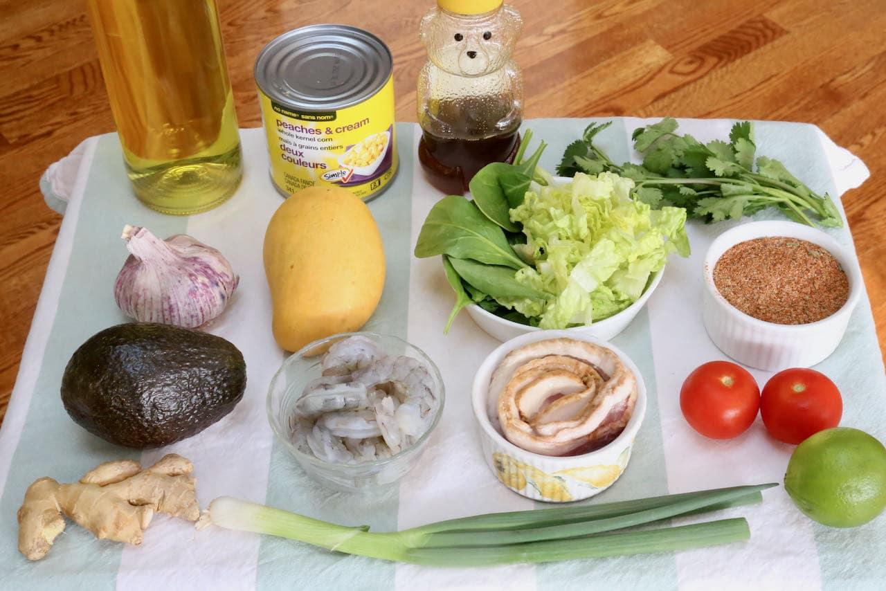 Cajun Shrimp Salad recipe ingredients.