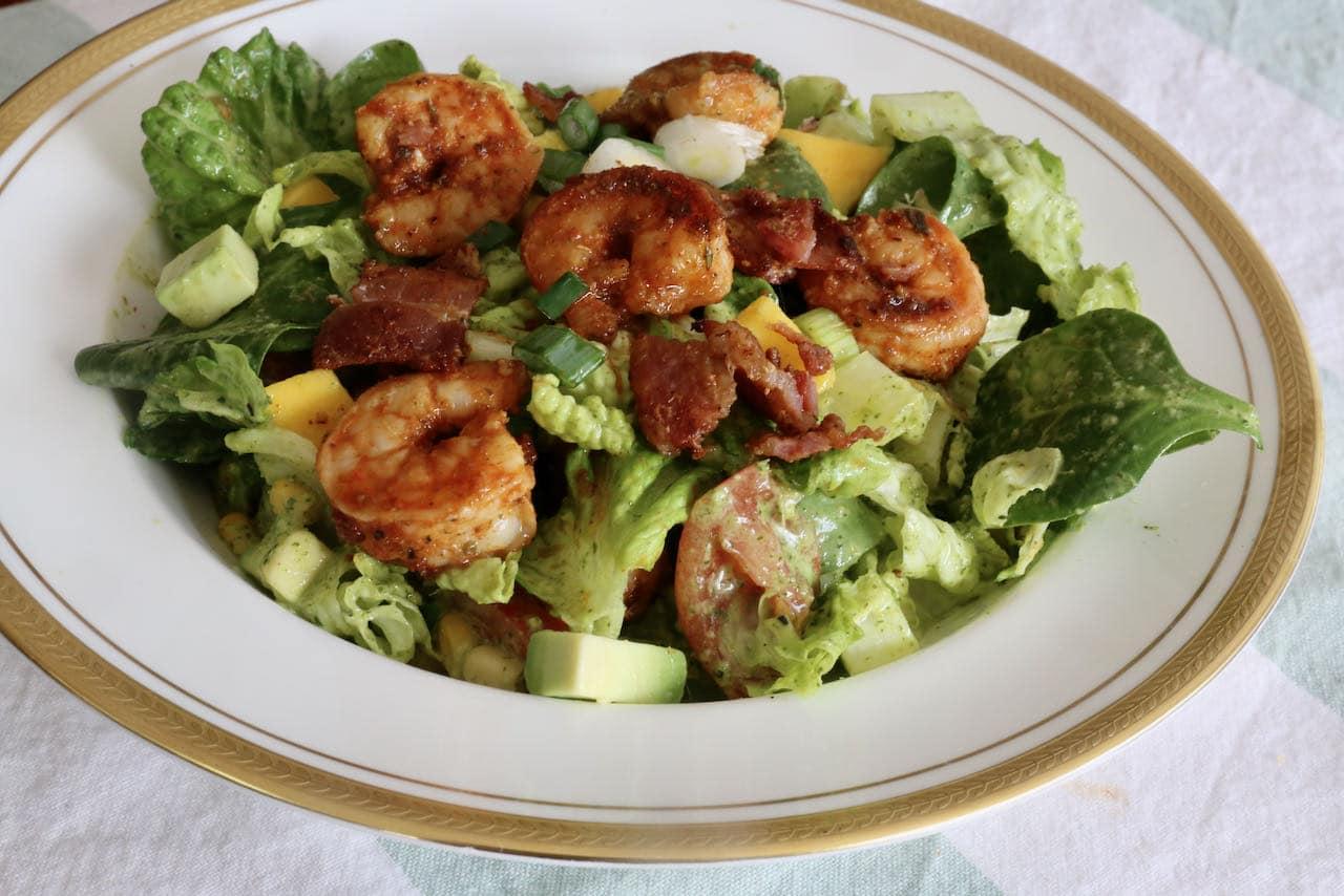 You can serve Cajun Shrimp Salad as a large main course salad or side dish.