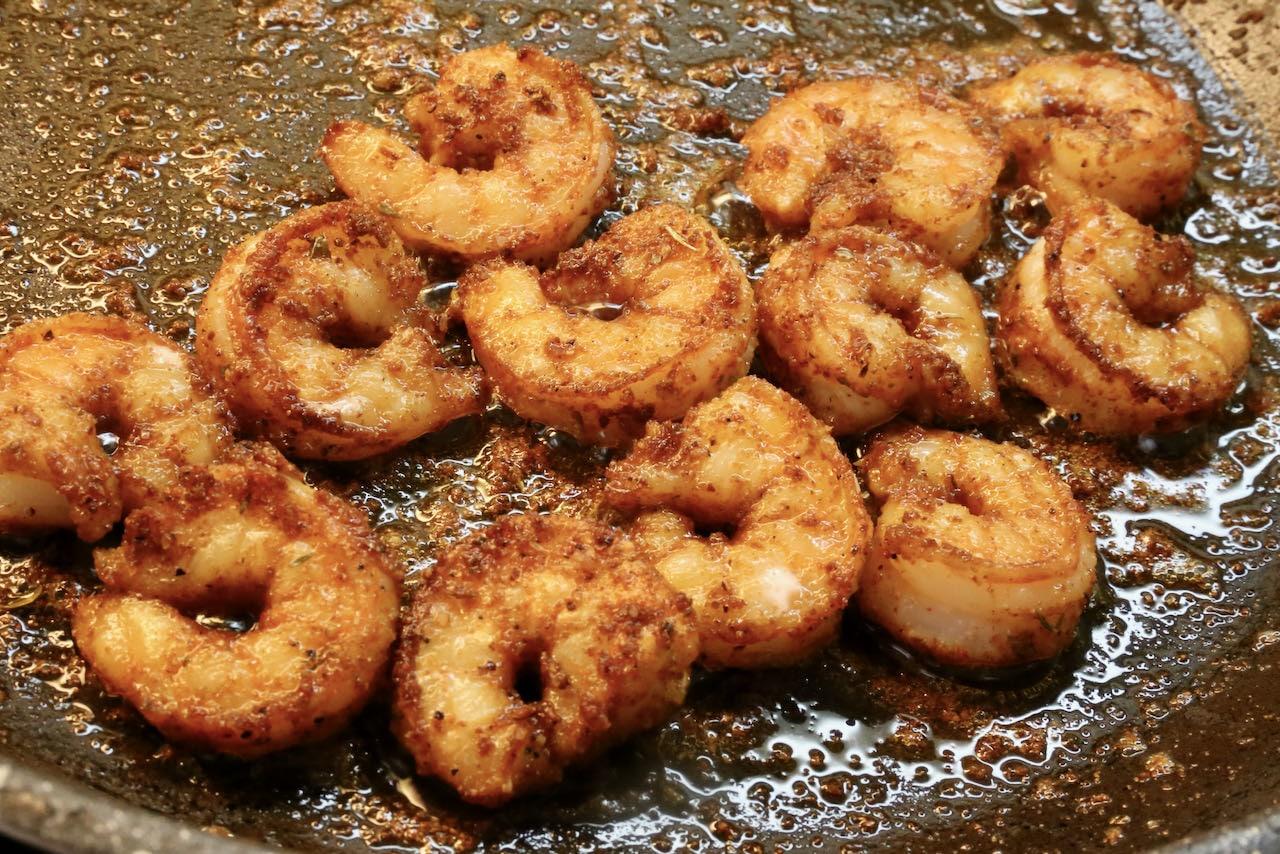 Fry Cajun shrimp in a nonstick skillet until crispy.