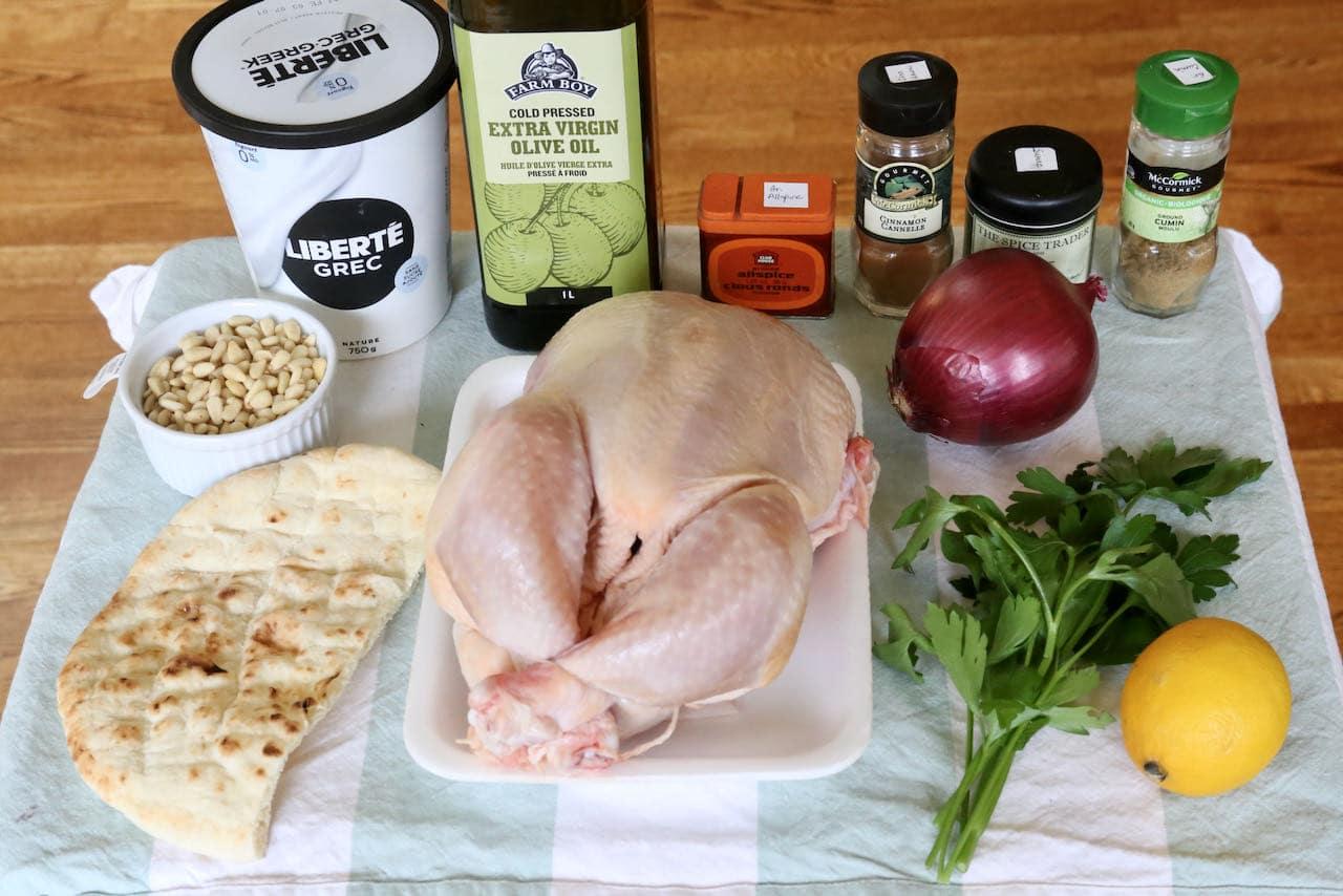 Traditional Chicken Musakhan recipe ingredients.