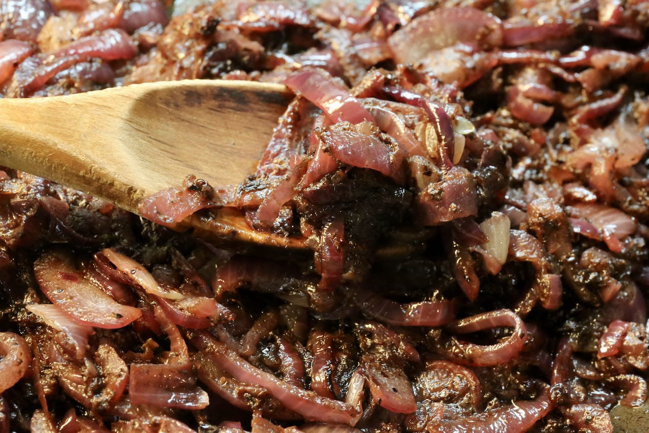 Caramelized Red Onions are a condiment for Palestinian Musakhan.