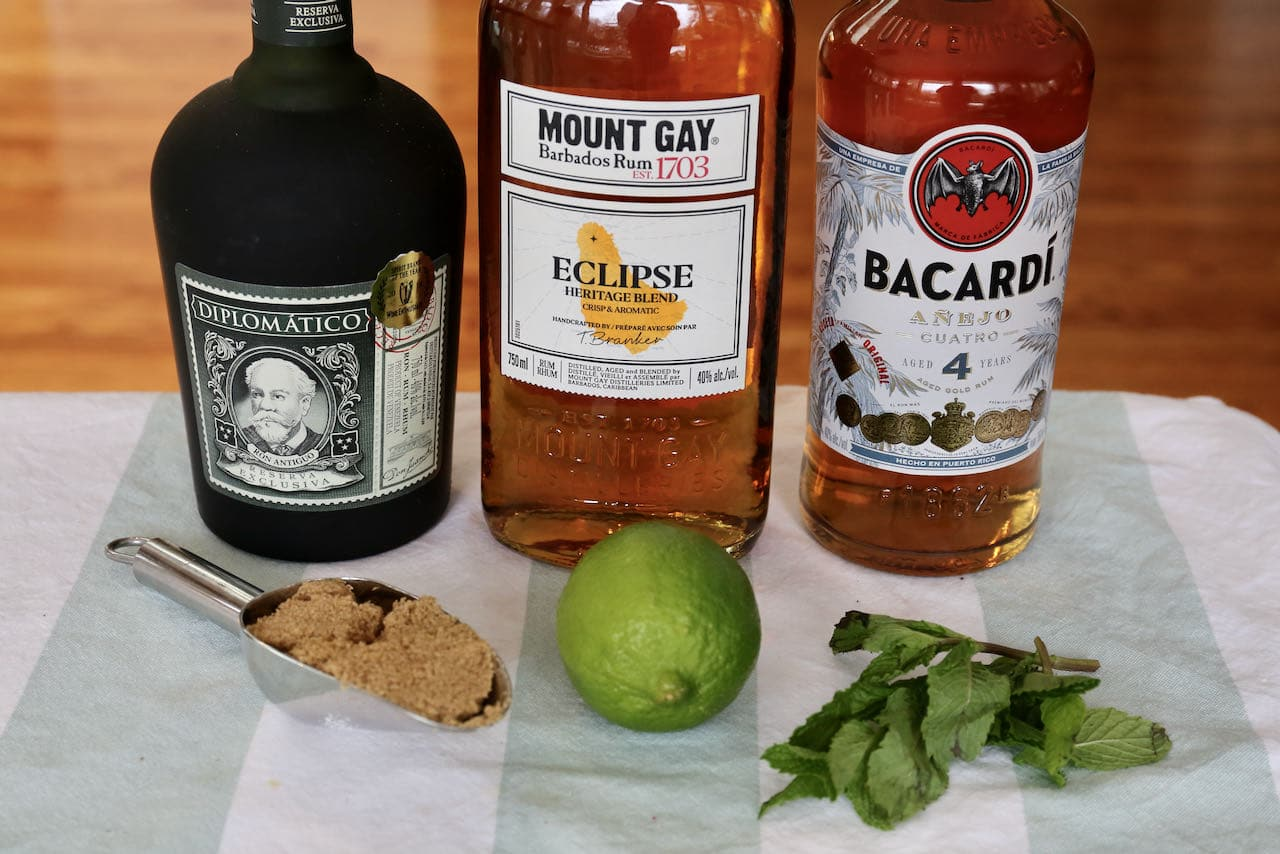 Dark Rum Mojito ingredients include fresh lime, mint and soda.