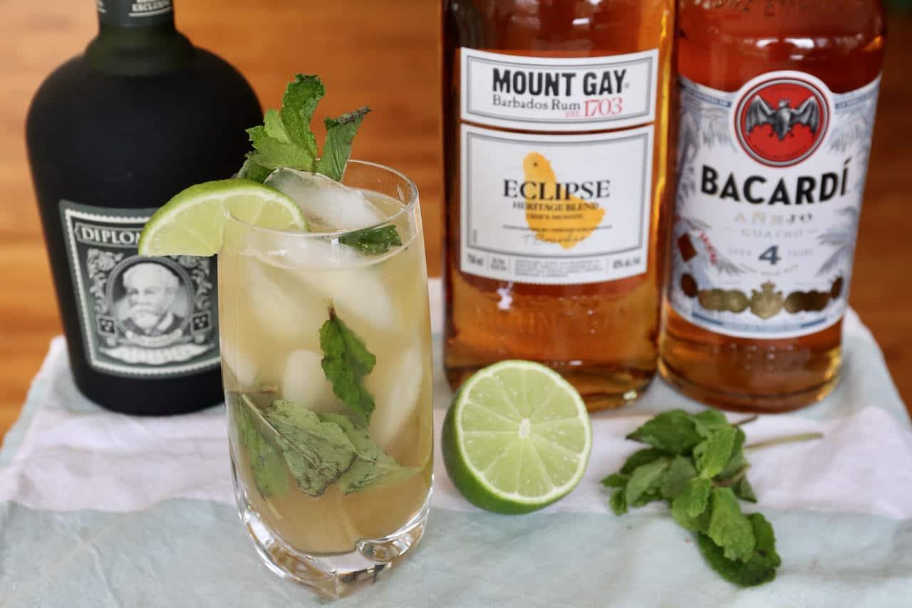 Fresh Mint Lime Aged Dark Rum Mojito Recipe
