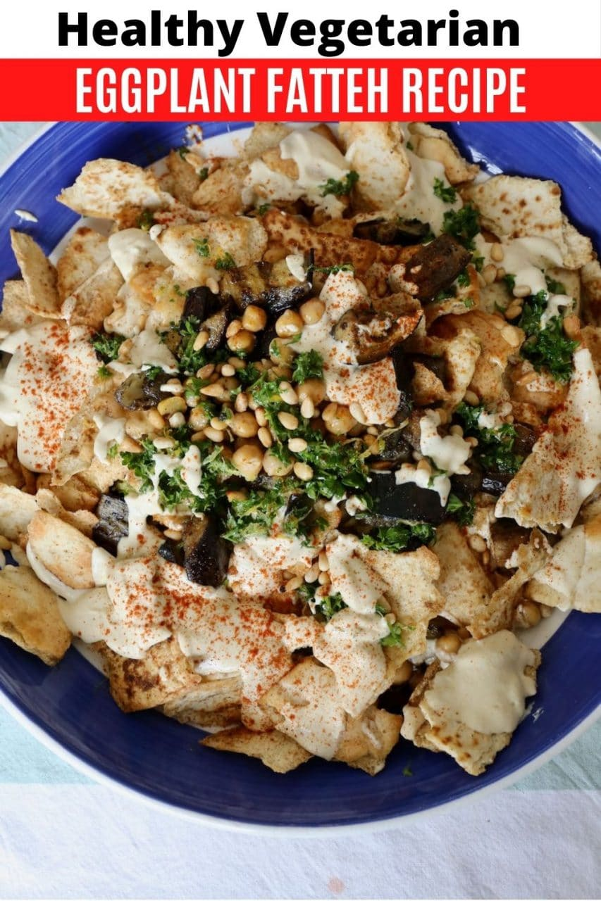 Save our Vegetarian Lebanese Eggplant Fatteh recipe to Pinterest!